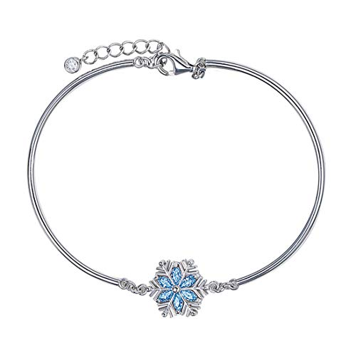Carleen White Gold Plated 925 Sterling Silver Created Blue Sapphire Snowflake Bangle Bracelet for Women Girls, 7
