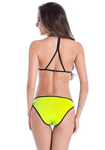 Botobkn 2pcs bikini Traje de ba?o de Mujer moda Trajes de ba?o con Bordes Negros Yellow