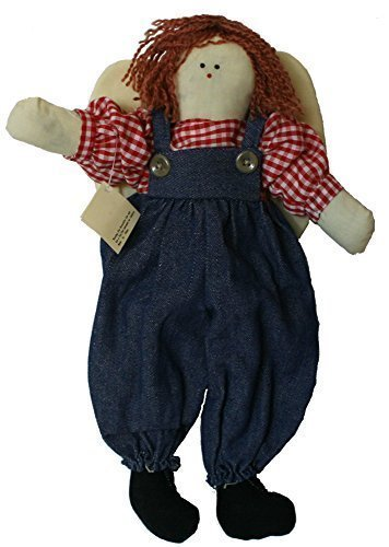 Rag Doll 14 Inches Angel with Scarlet Yarn Hair and Blue Jean Overalls Red Plaid Shirt