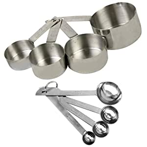 8 piece deluxe stainless steel measuring cup and measuring spoon set kitchen dining. Black Bedroom Furniture Sets. Home Design Ideas