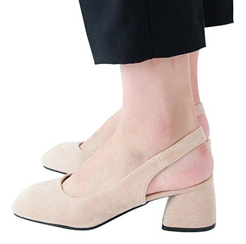 Annakastle Mujeres Bombas De Tacón Medio De Ante Veganas Slingback Daily Zapatos Beige