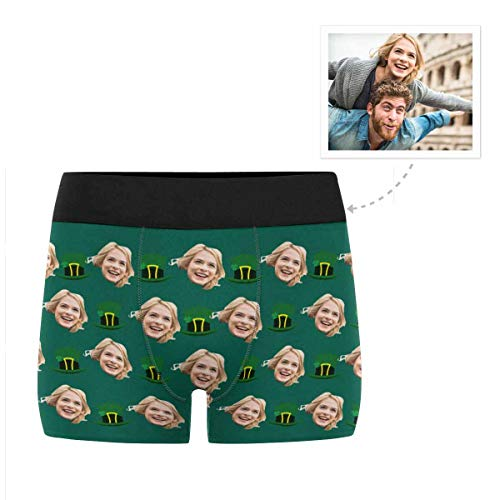 Custom Men's Funny Face St. Patrick Hat Irish Good Lucky Boxer Shorts Briefs Underpants Printed with Photo XXXL