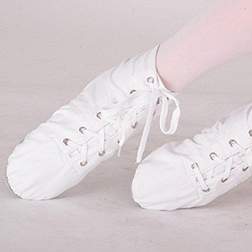 R Donne di Bianco 4 di i Gli Migliori per Tacchi del Canapa DS002 di Tela Hanno Balletto di Diviso di Uomini Nero Jazz Morbidi Tacchi di Jazz Alti SODIAL I Balletto pAwxpd