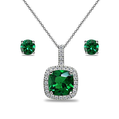 Sterling Silver Simulated Emerald and White Topaz Cushion-Cut Pendant Necklace & Stud Earrings Set