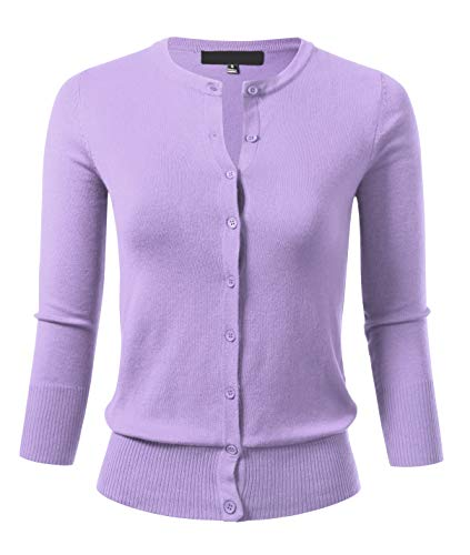 Women's Button Down 3/4 Sleeve Crew Neck Knit Cardigan Sweater M Lilac