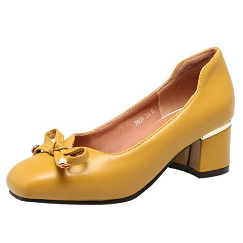 Toe Square FizaiZifai Women Pumps Yellow Heels Y7qE18q