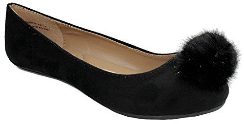Donne Morbide Piume Punta Rotonda In Camoscio Con Faux Suede Comfort Slip On Mocassino Baller Dress Black_48