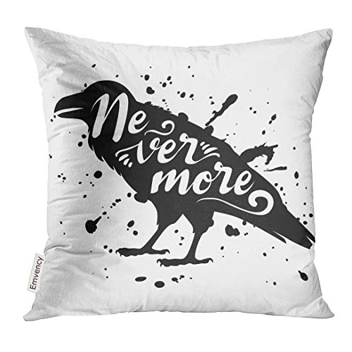Emvency Throw Pillow Cover Animal Silhouette of Sitting Raven Crow Bird Black on White with Ink Splashes Lettering Text Blot Decorative Pillow Case Home Decor Square 20x20 Inches Pillowcase -