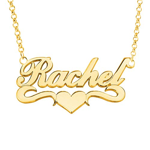 Price comparison product image HACOOL Personalized Names Custom Name Necklace Pendant in 18K Gold Plated Custom Made with Any Name Chain (Yellow Gold Plated Copper)