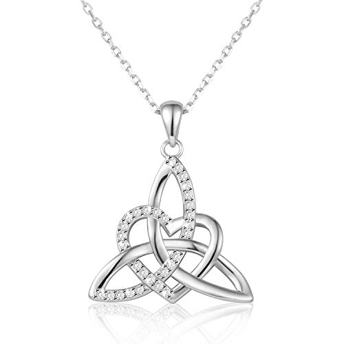 - Irish Celtic Trinity Knot Necklace Sterling Silver Mother Daughter Heart Shape Triquetra Trinity Knot Vintage Pendant Necklace for Women Jewelry