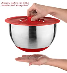 Silicone Cooking Food Storage Suction Lids, Microwave Splatter Screen and Bowl Covers, Set of 5 Plus 121 Cooking Secrets Ebook