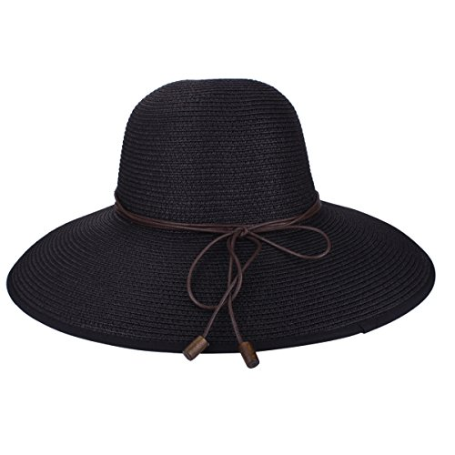 Black Cap Womens Adjustable (SHARBAY INC Women's Sun Hat - Floppy Straw Panama Roll up Hat Big Foldable Roll up UV Protection Summer Beach Wide Brim Cap UPF50+ (6603 Black))