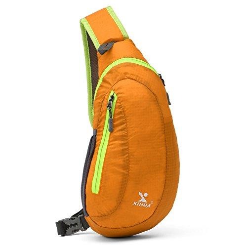 Bolso de pecho de viaje de tela de poliéster a prueba de agua resistente al desgaste de gran capacidad bolsa de mensajero bolsa de mensajero , green orange