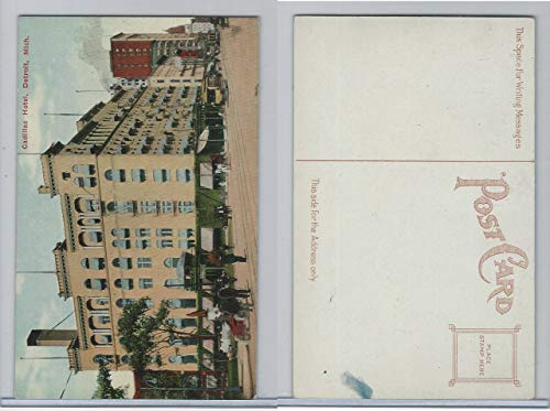 Postcard, Michigan, Cadillac Hotel, Detroit, 1920's, Street Car, Automobile ()