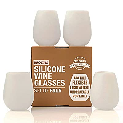 Silicone Wine Glasses - Set of 4 - Unbreakable Outdoor Rubber Wine Cups: 12 oz, Clear Silicone. 100% Dishwasher Safe - Shatterproof Party Cups / Drinkware Set for: BBQ, Pool, Camping & Picnics
