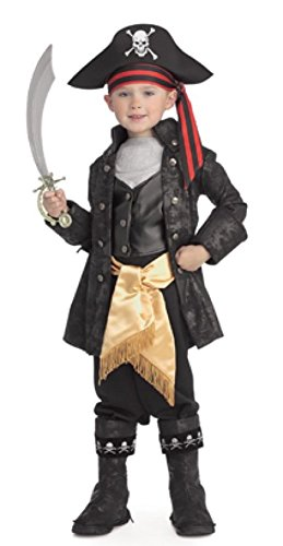 [Pirates of the Seven Seas Child's Captain Black Costume, Small] (Pirates Kids Costumes)