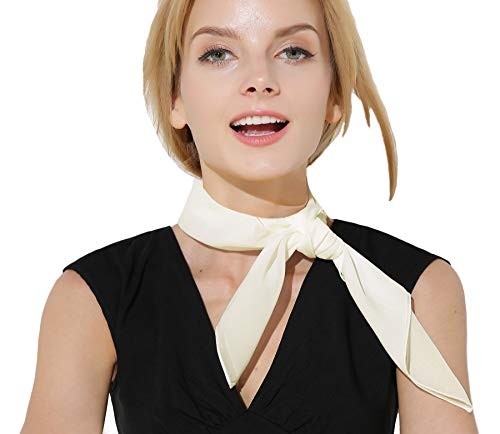 White Scarf Bandana Neck scarf 50s Accessories for Women Hair Scarf