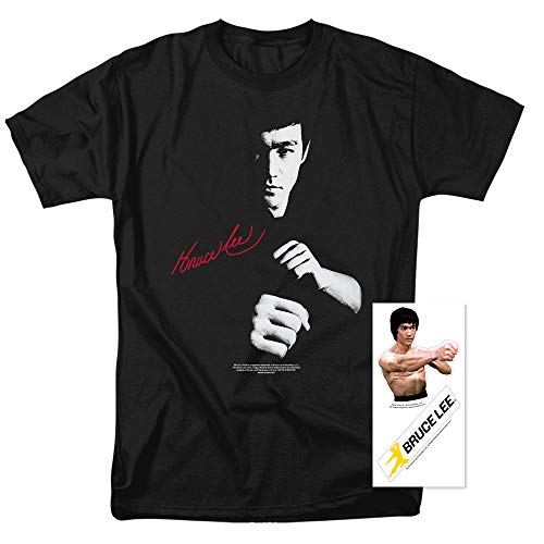 Bruce Lee The Dragon Awaits T Shirt & Stickers (Large) Black - Bruce Lee Dragon T-shirt
