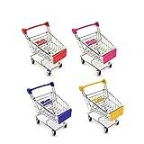 M-Aimee Mini Supermarket Handcart, 4 Pcs Mini Shopping Cart Supermarket Handcart Shopping Utility Cart Mode Storage Toy