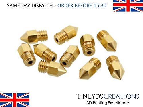 Pack Of 10 Pcs 1.75mm Filament 0.4mm 10 Pack Mk8 Extruder Nozzles 3D Printer Brass Extrusion Nozzles