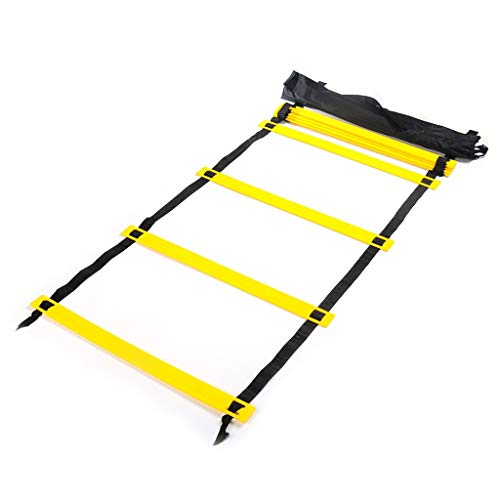 Berryhot Agility Ladder Training Equipment Set, Improves Coordination, Speed, Explosive Power and Strength for Outdoor Workout (Yellow)