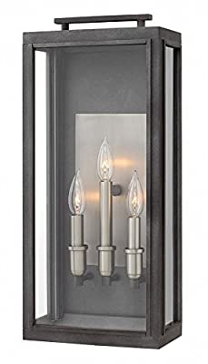 Hinkley 2915DZ Sutcliffe Outdoor Wall Sconce, 3-Light 180 Total Watts, Aged Zinc