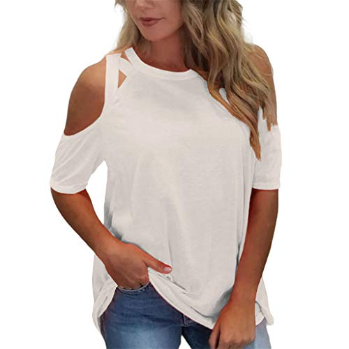 Womens Blouse Casual Short Sleeve O Neck Tops Off Shoulder Bandage T Shirt Tops Blouse White