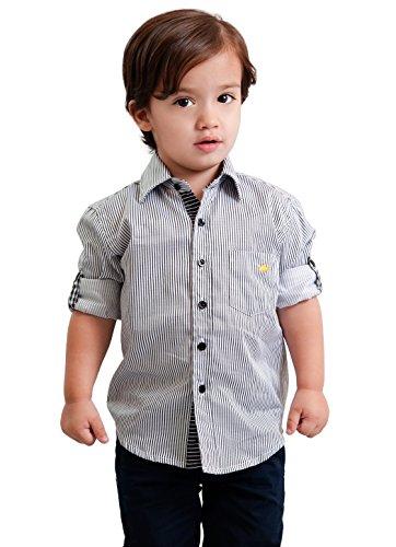 Dakomoda Toddler Boys' 100% Pima Cotton Shirt - Roll up Black Striped Dress Shirt 2T -