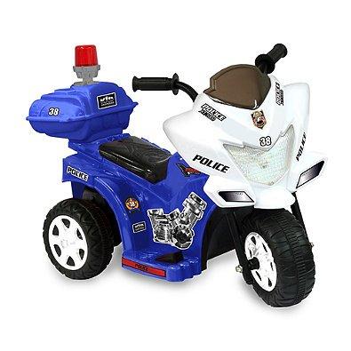 Kid Motorz Lil Patrol 6-Volt Motorcycle Ride-On in Blue & Wh