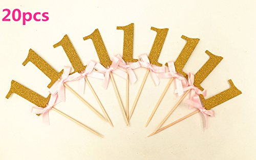 Babycola's Mum 20Pcs Glitter Gold With Pink Ribbon Bow 1st Birthday Decorations , Number Cupcake Toppers, Party Cake Cupcake Decorative Toppers