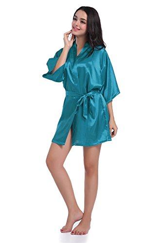 Casa Damen Kimono Morgenmantel, Satin Einfarbige Robe Kurz Bademantel Nachtwäsche mit V Ausschnitt und Gürtel Pfau Blau