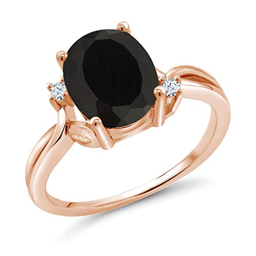 (Gem Stone King 2.53 Ct Oval Black Onyx White Created Sapphire 14K Rose Gold Ring (Size 9))