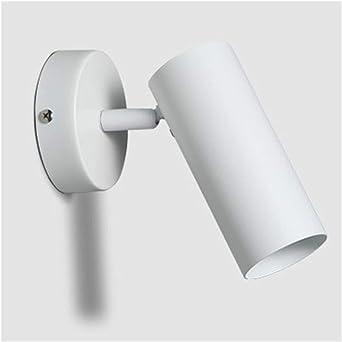 Moderna lámpara de pared LED blanco cálido y negro que puede girar pulsador para dormitorio, pasillo, escaleras, baño interior: Amazon.es: Iluminación