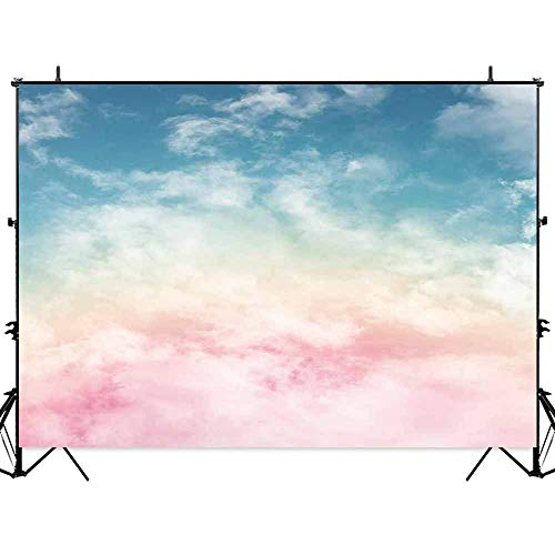 Allenjoy 7x5ft Fabric Rainbow Sky Pink and Blue Cloud Backdrop No Wrinkle Wonderland Fairy Background Children Kids Birthday Party Photography Photobooth Props Washable]()