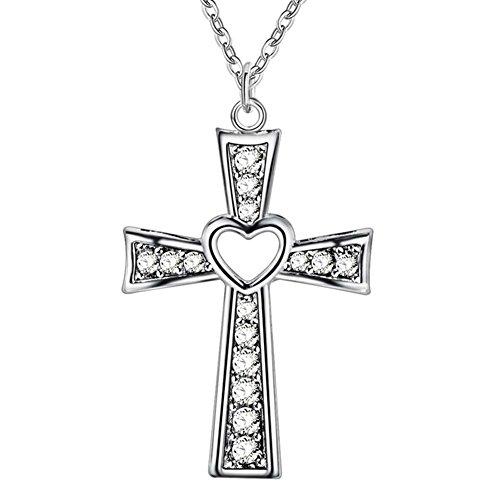 Guoainn Clearance Sale! Women Men Fashion Cross Necklace Hollow Heart Cocktail Party Wedding Jewelry