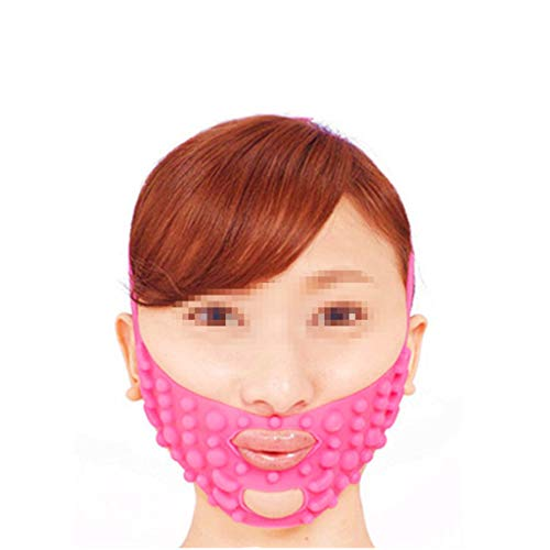 WYNZYSLBD Silicone Massage Face Mask, Tightly Shaped Small V Face Lift To Decree Pattern Face-lift Bandage Pink