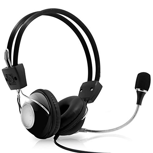 Multimedia Gaming USB Mic Headset - Over Ear Professional Wired Headphone w/ Noise Cancelling Mic, 3D 360 Stereo Surround Sound - PC Gaming Console - Game, Skype Chat, Call Center - Pyle Home PHPMCU10