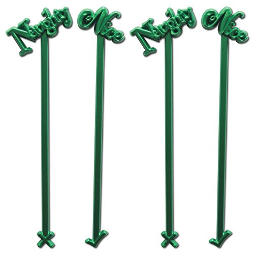 Royer 6 Plastic Naughty or Nice Christmas, Holiday Swizzle Sticks, Set of 24 - Made in USA (Pearl Green)