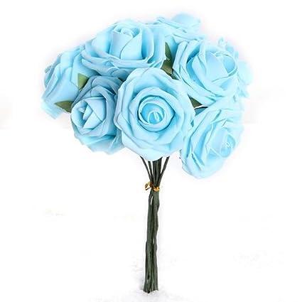 Bouquet 10pcs Fleur Artificiel Rose En Mousse Bleu Deco Mariage