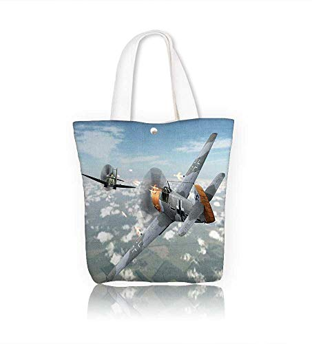 (Canvas Tote Bags airplane in dogfight with supermarine spitfire Design Your Own Party Favor Pack Tote Canvas W16.5xH14xD7 INCH)