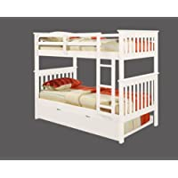 Bunk Bed Twin over Twin Mission style in White with Twin Trundle