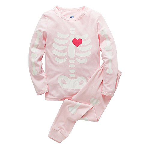 B.GKAKA Girls Halloween Skeleton Kids Pajamas Cute Glow-in-The-Dark 2 Piece Toddler Sleepwear