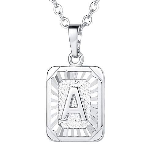 U7 Monogram Necklace A-Z 26 Letters Pendants Platinum Plated Initial Necklaces for Women (Letter A) (Monogram Jewelry Necklace)