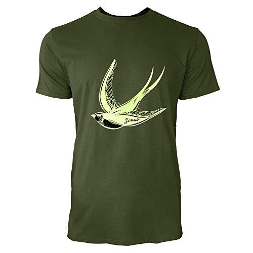 SINUS ART® Fliegende Schwalbe im Tattoo Stil Herren T-Shirts in Armee Grün Fun Shirt mit tollen Aufdruck