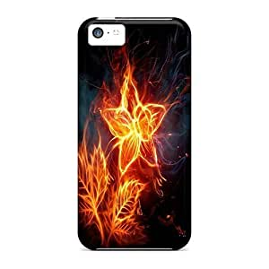 Awesome Design Fire Flower Hard Case Cover For iPhone 5 5s