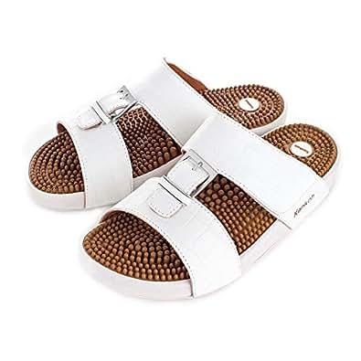 Kenkoh Elegant Leather Massage Sandal for Men White