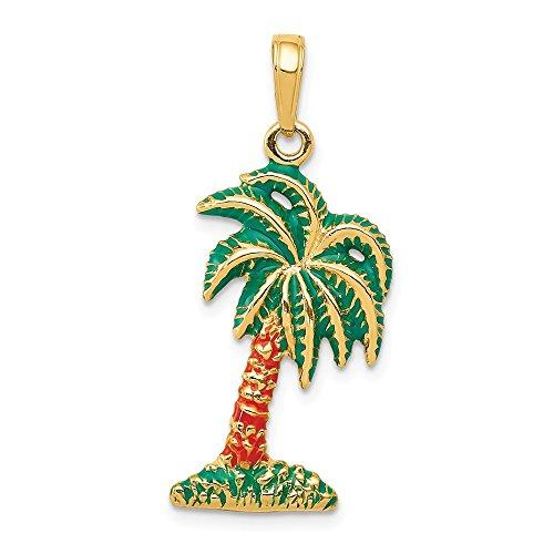 FB Jewels 14K Yellow Gold Enameled Palm Tree Pendant