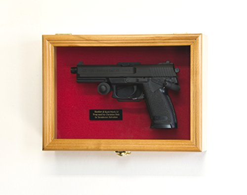 sfDisplay.com, Factory Direct Display Cases Single Pistol Display Case Wall Mount Solid Hardwood Cabinet (Oak Finish, Red Felt Background) ()