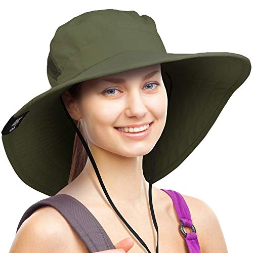 (Wide Brim Sun Hat Outdoor UV Protection Safari Cap for Women Green)