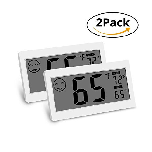 House Greenhouse - Digital Thermometer Indoor Hygrometer Room Temperature Monitor Humidity Gauge with Big Screen Stand Wall Hanging Magnet Greenhouse House Kitchen Car (2 Pack)